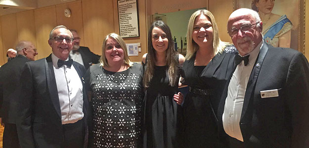 Laura, ,Jenna & Ash with Freemasons Peter White and Lional May